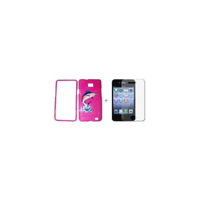 Samsung Galaxy s2 / sii sgh i777 Jumping Marlin Fish Fishing Pink ( FREE Anti Glare Screen Protector ) Plastic Case, SnapOn, Protector, Cover