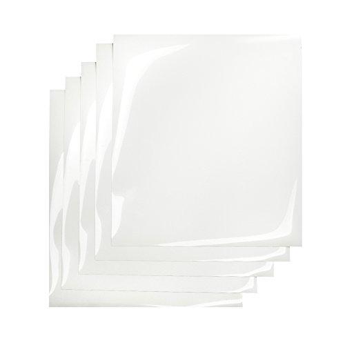 "12"" x 10"" Iron on Transfer Paper Heat Press Vinyl (5 Precut Sheets) for T-Shirts, White"