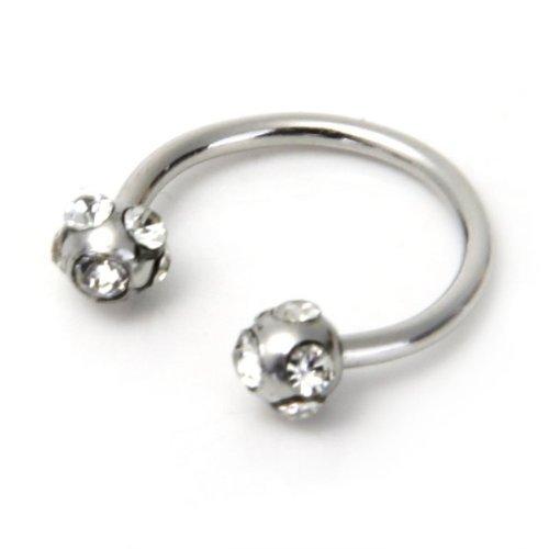 SODIAL(R) fer a cheval cristal 316L acier anneau levre menton oreille barre a disques