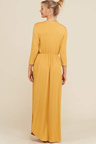 3XL Shirring 4 Mustard Length Side S Slits Sleeve Annabelle Detail Women's Bust Maxi 3 Full Wrap Dress wHtxYpZxTq