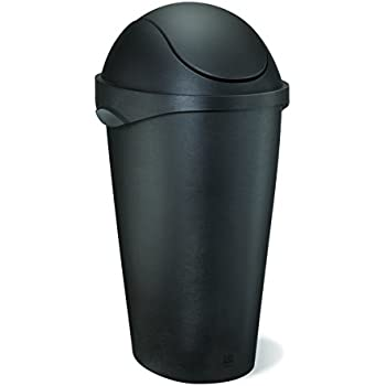 Umbra Swinger 12-Gallon Swing-Top Waste Can, Black, 11-20