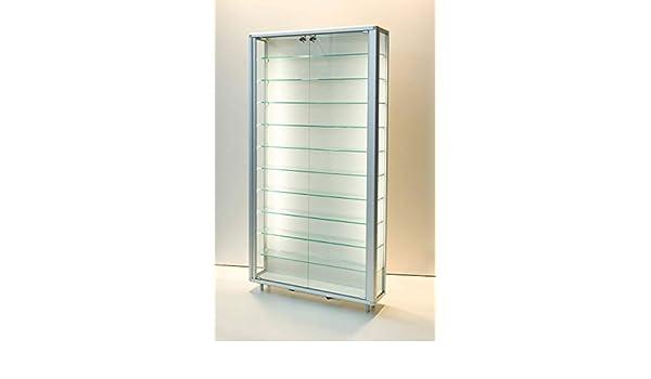 MHN - Vitrina de pared de cristal con cierre plano, iluminada y protegida contra el polvo, 20 cm de profundidad, 2 x 40 W: Amazon.es: Hogar