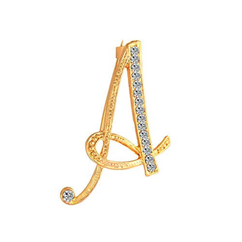 MOSLISA 2 PCS Gold Plated Rhinestone 26 Initial Letters A to Z Brooch Pin for Women and Girl Unique Gift