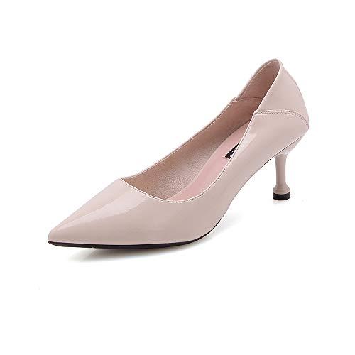 Alto con Tacón De de Zapatos De Otoño alto Moda Acentó zapatos Trabajo Beige Marea Soft De Wild Los tacón Yukun Zapatos Bottom Chica FvSzxX8W