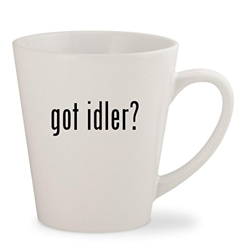 got idler? - White 12oz Ceramic Latte Mug (Fan Idler Bracket)