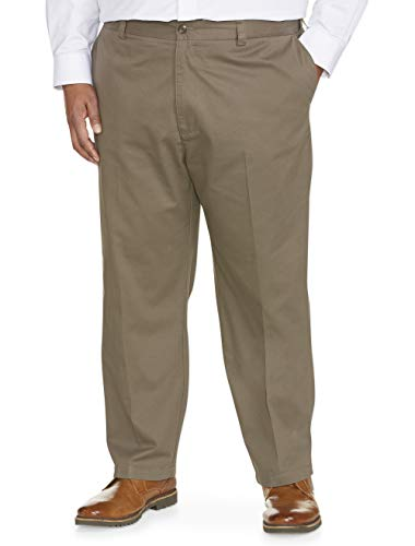 Amazon Essentials Men's Big & Tall Loose-fit Wrinkle-Resistant Flat-Front Chino Pant fit by DXL, Taupe, 46W x 32L