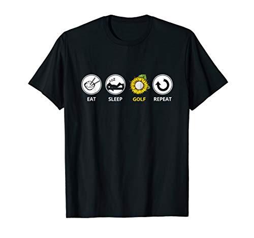 Eat Sleep Golf Repeat T-shirt Golf Sport Hippe Sunflower Tee T-Shirt