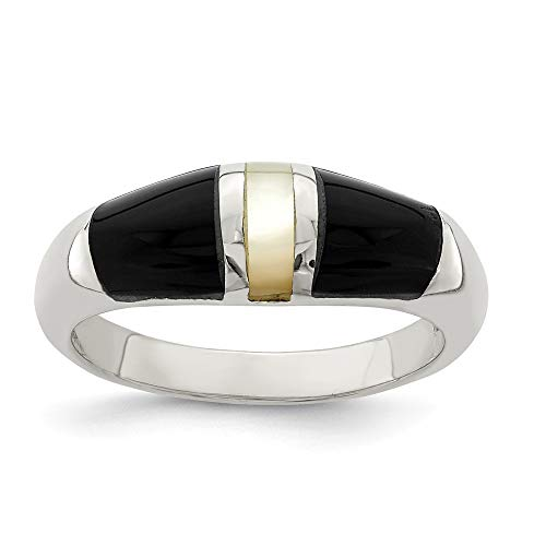 - 925 Sterling Silver Black Onyx Mother Of Pearl Band Ring Size 7.00 Natural Stone Fine Jewelry Gifts For Women For Her