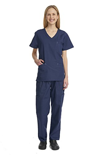 Denice Womens Scrub Sets / Multiple Pockets / Medical Uniforms 1050 (3X-Large, Navy) (Scrub Sets Plus Size Women)