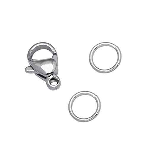 50 PCS 9mm Stainless Steel Lobster Clasps and 200 PCS 4mm Open Jump Rings Set Jewelry Making Findings (Silver, Clasps: 9x6 mm, Jump Ring: 4 mm Diameter)