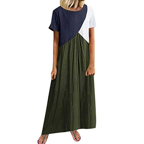 ♛TIANMI Dress for Women,Summer Casual Printed Sleeveless V-Neck Maxi Dress Hem Baggy Kaftan Long Dress