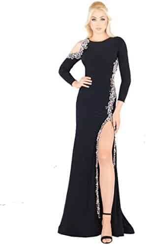 4afafcb77e5d Mac Duggal Prom - Black and Silver Bold Jersey Dress Gown with Slit and  Cold Shoulder