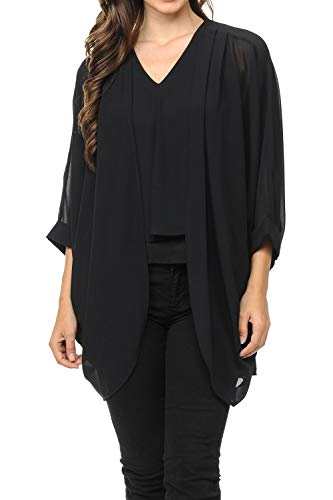 (Auliné Collection Womens USA Made Casual Cover Up Cape Gown Robe Cardigan Kimono SLFBW1 Black L)