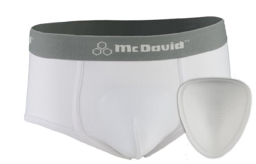 McDavid 9130 Classic Youth Brief with Soft Foam Cup (White, Large)