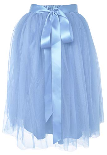 Dancina Women's Knee Length Tutu A Line Layered Tulle Skirt Plus (Size 12-22) Light Blue -
