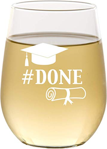 Engraved Graduation Party Stemless Wine Glass, College Graduation Gifts, Gift for Graduates, Grad Gifts, Done - SG33]()