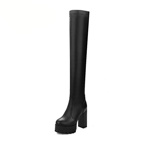 T-JULY Women's Pu Leather Chunky High Heel Over The Knee Boots Platform Slip On Winter Fashion Thigh Boots ()