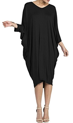Tunic ainr Black Cocoon Bubble Women's Dress Midi Hem Dress w4a60wgq