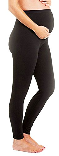 Maternity Leggings Seamless Solid Color Nursing Clothes Tights Stretch Black 1 Pack
