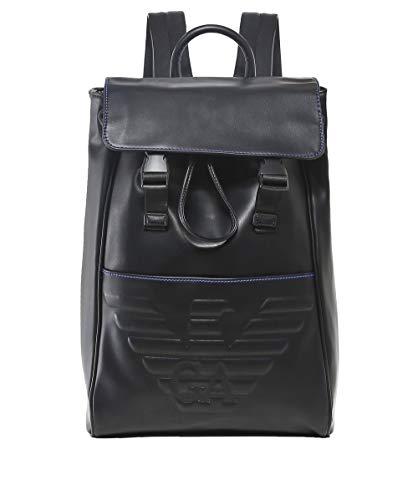 Armani debossed maxi Hombres insignia mochila Negro de Negro rqrw61