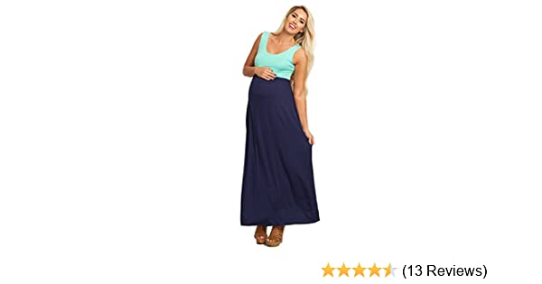 47e2297ad9e19 PinkBlush Maternity Navy Blue Mint Colorblock Maxi Dress, Small at Amazon  Women's Clothing store: