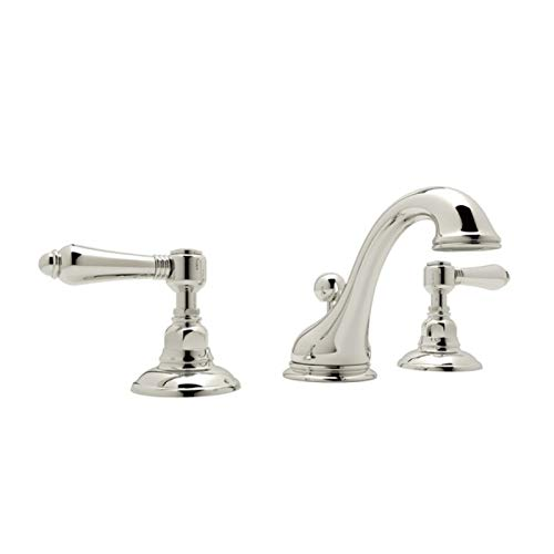 (Rohl A1408LMPN-2 C-Spout Widespread Bathroom Sink Faucet with Metal Lever Handles, Polished Nickel)