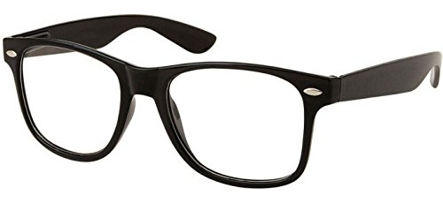 WebDeals - Retro Classic Nerd Clear Lens Fashion Glasses (Adult Size, Retro Black) (Sexy Updo)