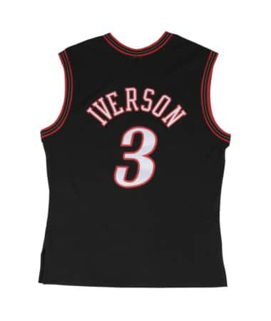 eca5123f31ea Allen Iverson Philadelphia 76ers Mitchell and Ness Men s Black Throwback  Jesey X-Large