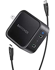 $33 » USB C Charger RAVPower 65W Fast Wall Charger, PD3.0 & GaN Tech 2-Port Power Adapter Type C Compact Foldable Travel Charger for iPhone 12 Mini Pro Max, MacBook Pro, Galaxy, Switch and More