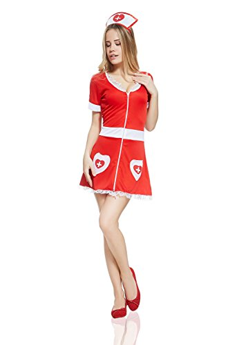 [Adult Women Naughty Nurse Halloween Costume Sexy Therapist Dress Up & Role Play (Standard+)] (Sexiest Costumes For Women)