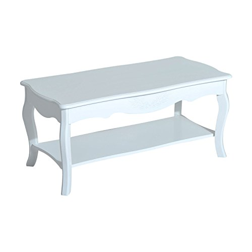 HOMCOM Wooden Country Cottage Style Two Tier Accent Coffee Table