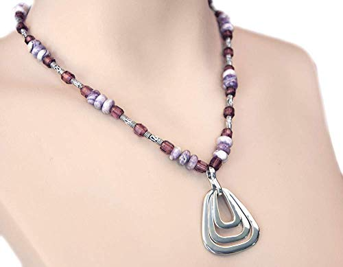 Geometric Necklace Silver Triangular Pendant with Purple Amethyst Barrels Bali Beads and Lace Agate Beads 18
