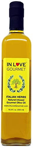 In Love Gourmet Italian Herbs Natural Flavor Infused Olive Oil 500ML/16.9oz Awesome Gourmet Bread Dipping Oil, Salad Dressing Extra Virgin Olive ()