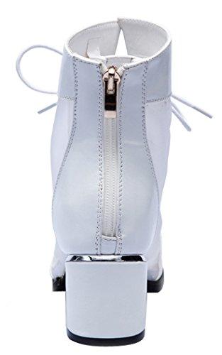 Laikakingdom Rough Heel Sexy Peep-toe Grenadine Lace-up British Style Shoes For lady(6.5 B(W) US, Black)