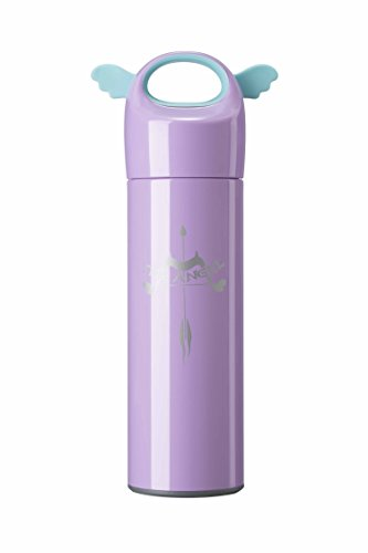 Landrind Portable Thermos Travel Mug Cute Design Vacuum Insulated Stainless Steel Thermos Water Bottle, Mini Size Coffee Thermos & Vacuum Flask (400 mL, Angel Wing & Purple)