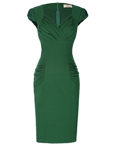Pin Up Dresses For Sale (Pleated Bodice 1950s Retro Bodycon Midi Dress for Women,0449-1 Green,Small)