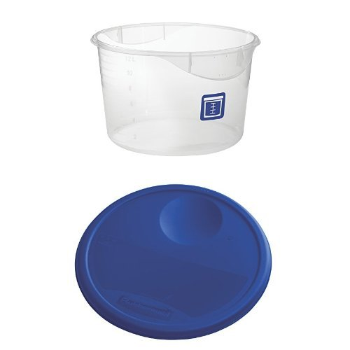Rubbermaid Commercial Round Plastic Food Storage Container, Blue, 12 Quart, with Lid