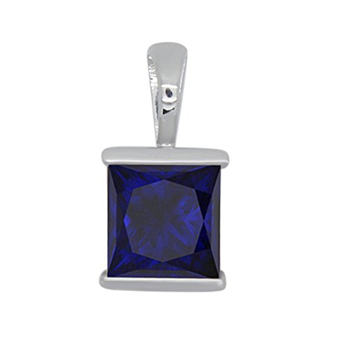 omega jewellery 1.00 Ct Princess Shape Simulated Blue Sapphire 925 Sterling Silver Bar Set Solitaire Pendant Without (Omega Style Necklace)