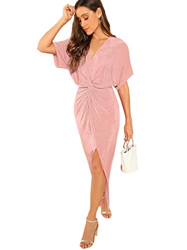 Romwe Women's Twist Front Deep V Neck Split Hem Glitter Party Cocktail Dress Pink Large