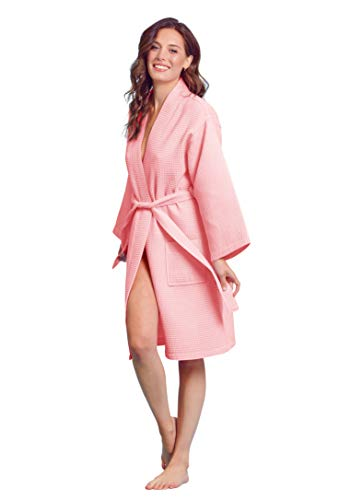Kimono Waffle Robe - Women's Bath SPA Robe - Lightweight Cotton &Polyester Blend (XL, Blush)