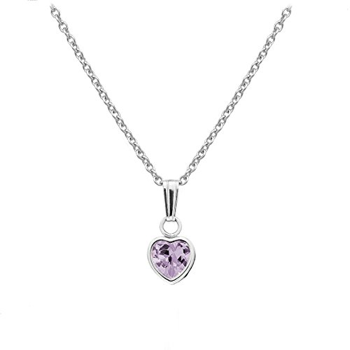- Little Girl's Sterling Silver Simulated June Birthstone Heart Pendant Necklace (13 in)
