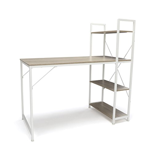Essentials Office Desk with 4 Shelf Unit - Modern Computer Desk and Workstation, White/Natural (ESS-1004-WHT-NAT)
