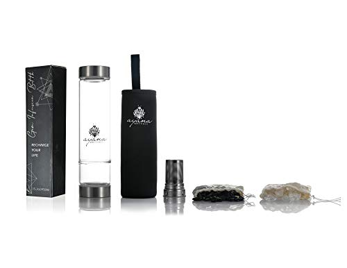 (Ayana Wellness Gem Water Infusion Bottle Gemwater Elixir Infused with Crystal Energy | BPA Free Borosilicate Glass | with Tea Infuser | Includes Real Clear Quartz and Black Tourmaline Gemstones )