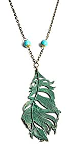 Blue Feather Necklace trendy jewelry e