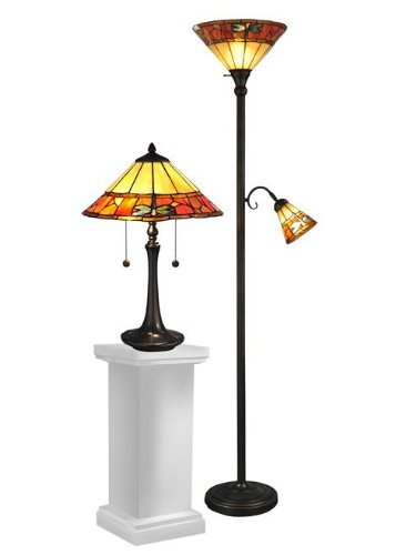 Dale Tiffany Brass Antique Floor Lamp - Dale Tiffany TC12178 Genoa Table and Floor Lamp Set, 70