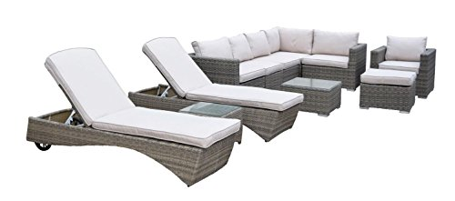 CC Outdoor Living 11-Piece Brown Borneo All-Weather Resin Wicker Modular Sectional Set w/Gray Cushions