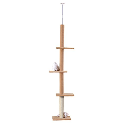 Beige HOME STYLE Floor to Ceiling Cat Tree Cat Scratch Post