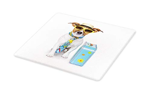 - Ambesonne Dog Cutting Board, Traveler Funny Dog Dressed as a Tourist with Hat Glasses Necktie and a Floral Suitcase, Decorative Tempered Glass Cutting and Serving Board, Large Size, Multicolor