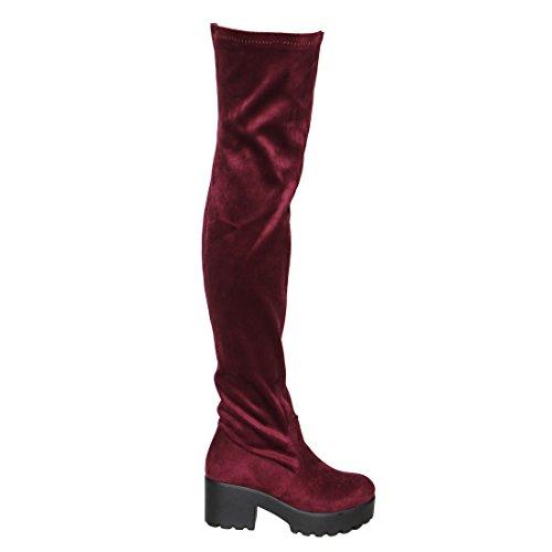 Beston EJ76 Damen Stretchy Snug Fit Block Heel Overknee Oberschenkel Hohe Stiefel Burgunder Wildleder