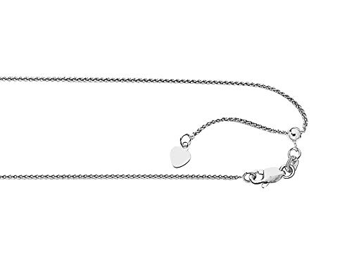 - Finejewelers 14k White Gold 2.6 Grams 22 Inch Adjustable Wheat Chain Necklace Lobster Clasp Heart Charm